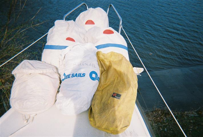 Sails on foredeck