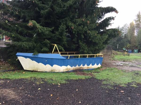 Large steel boat hull