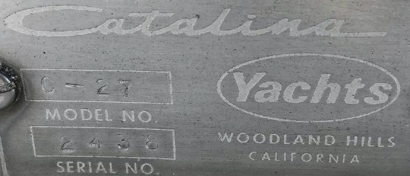 27 Catalina Serial plate
