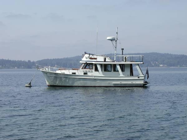 36 foot Europa Trawler built by Blue Seas on hook
