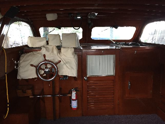 35' classic wood hull cabin cruiser cockpit