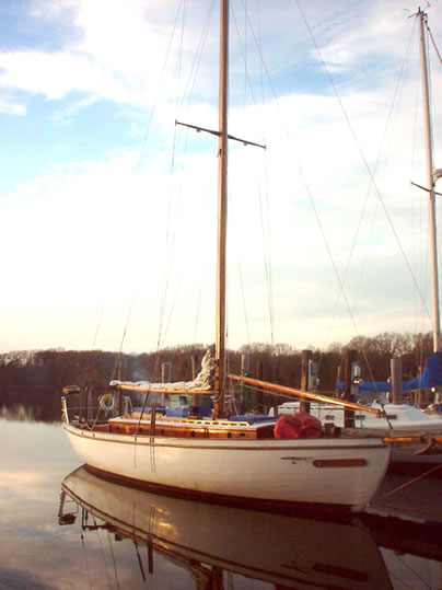1939 Casey 41 Auxiliary Cutter Used Classic Wooden Boat sails down