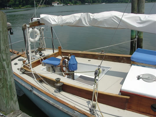 1939 Casey 41 Auxiliary Cutter Used Classic Wooden Boat cockpit
