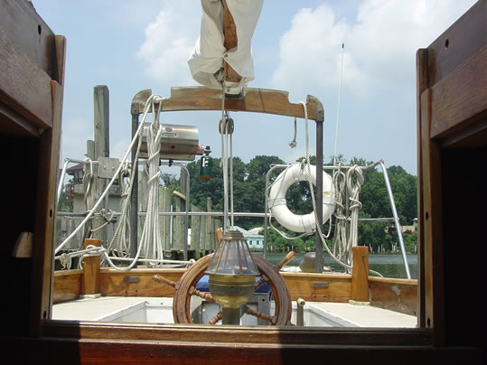 1939 Casey 41 Auxiliary Cutter Used Classic Wooden Boat companion way