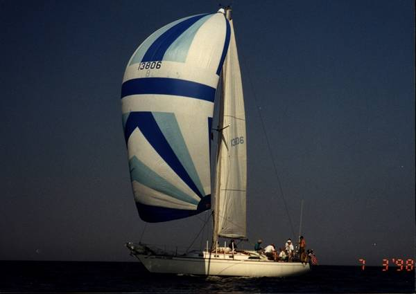 Spinaker Sail, blue and white nylon, in bag