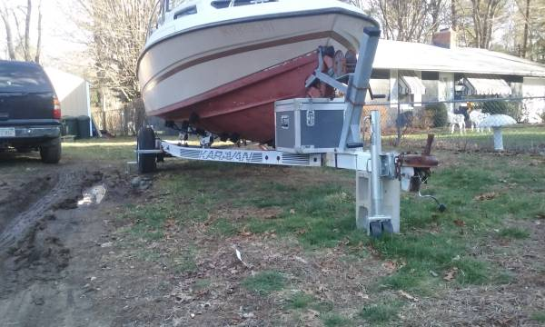 1984 Cobia Odyssey 195 - 19 1/2' cuddy cabin bow view on trailer