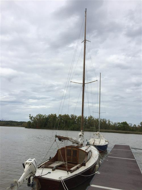 25' Wooden sloop built in Holland 1954 standing tall