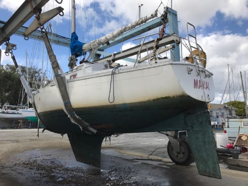 30 Irwin on sling in boat yard