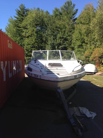 Boat and trailer bow view