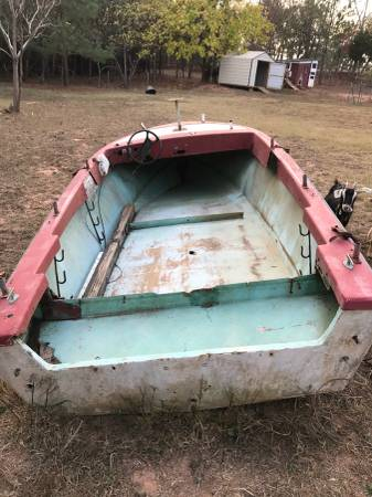 Old red boat hull project