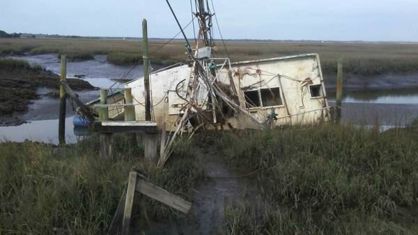 Fiberglass hull shrimp boat