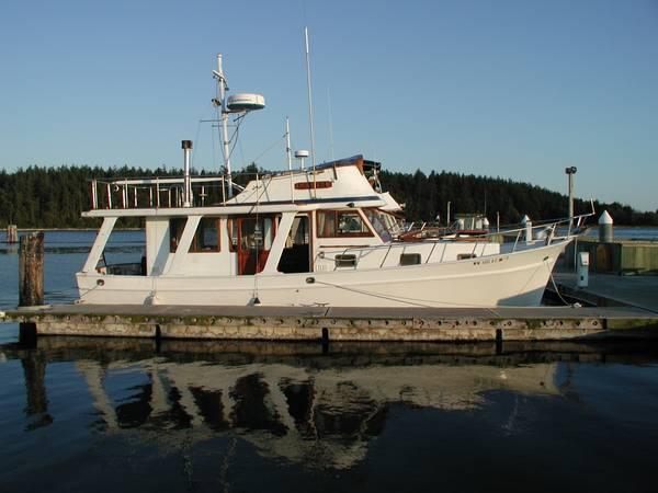 36 foot Europa Trawler built by Blue Seas at dock