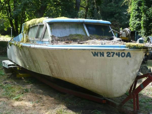 old boat on trailer