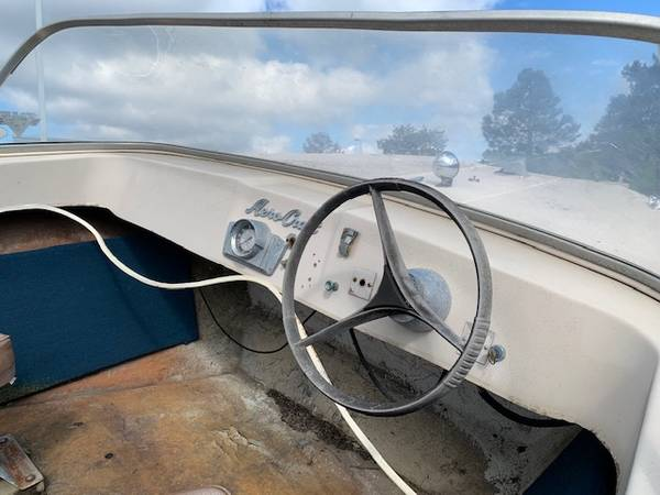 Dashboard of boat with trailer
